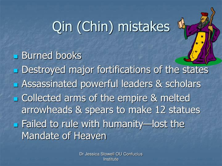 Qin (Chin) mistakes