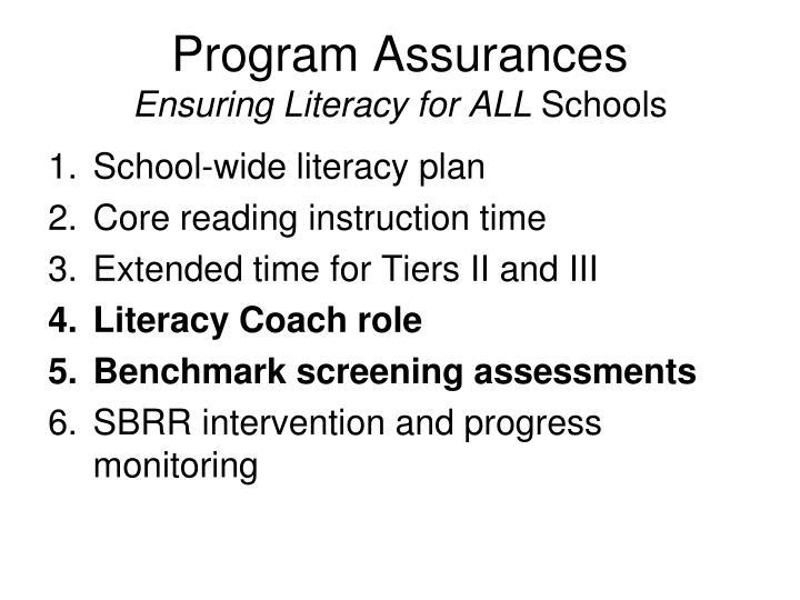 Program Assurances
