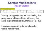 sample modifications age of student