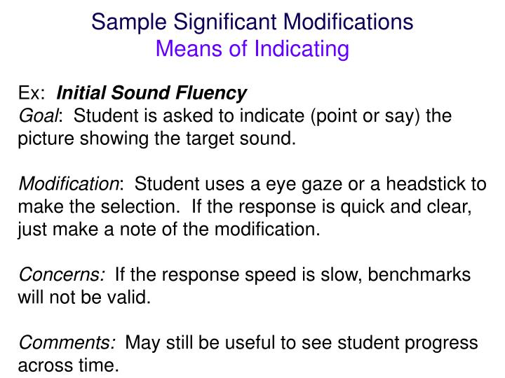 Sample Significant Modifications