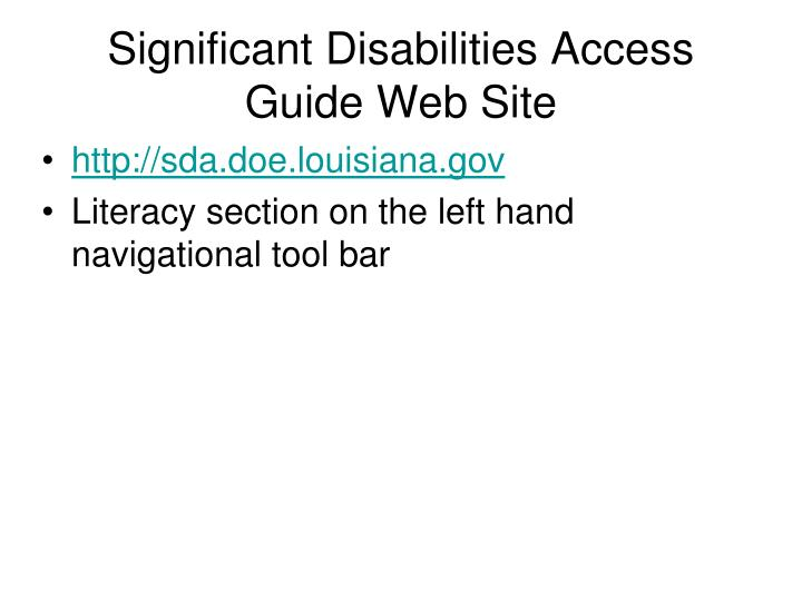 Significant Disabilities Access Guide Web Site