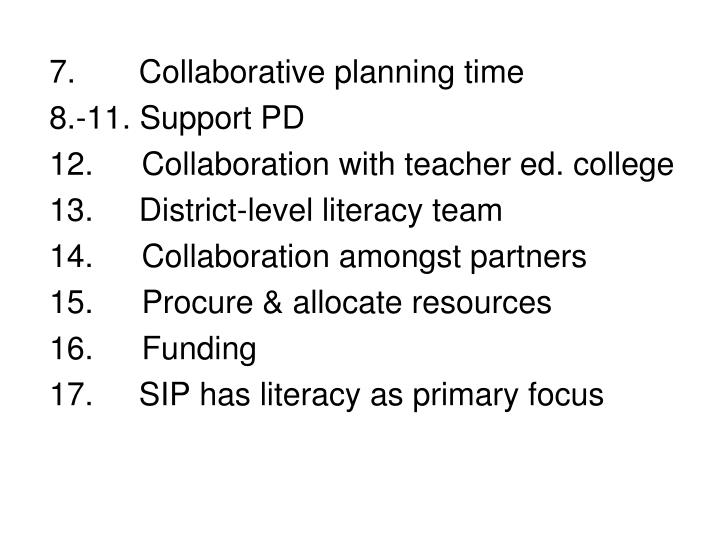 7.  Collaborative planning time