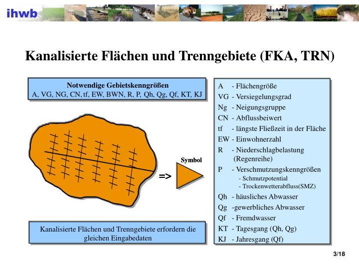 Kanalisierte Flächen und Trenngebiete (FKA, TRN)