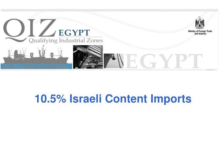 10.5% Israeli Content Imports