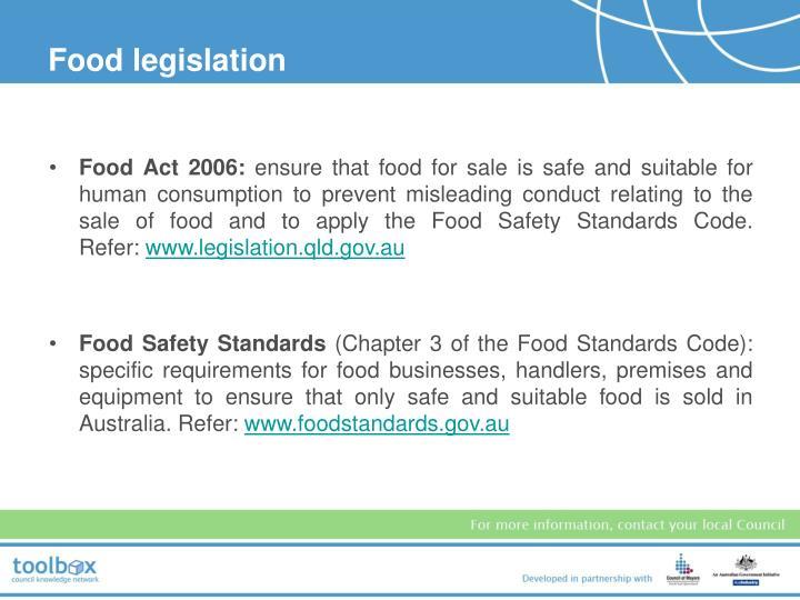 Food legislation