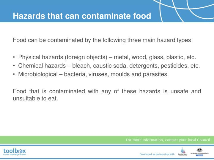 Hazards that can contaminate food