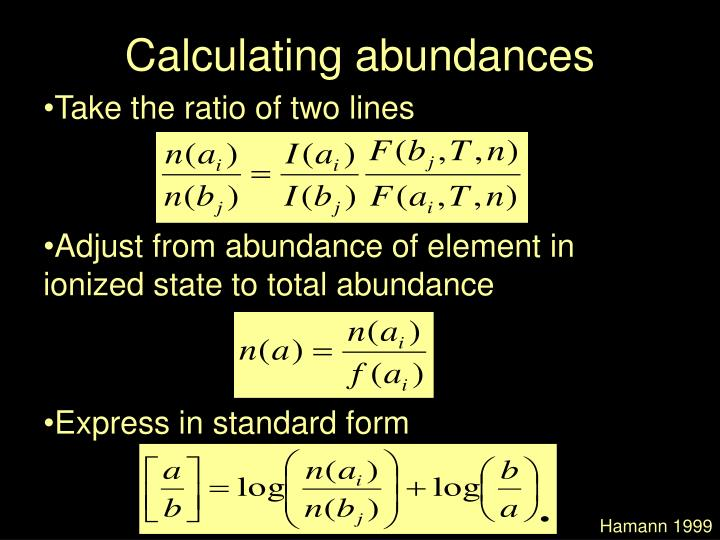 Calculating abundances