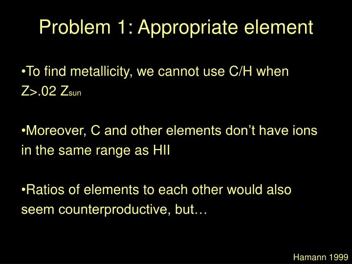 Problem 1: Appropriate element