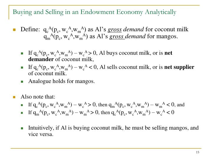 Buying and Selling in an Endowment Economy Analytically