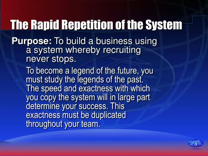The rapid repetition of the system