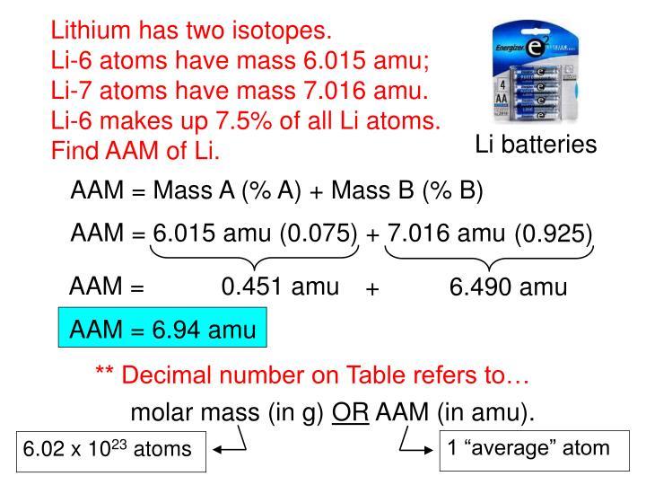 "1 ""average"" atom"