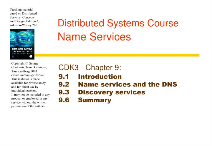 Distributed systems course name services