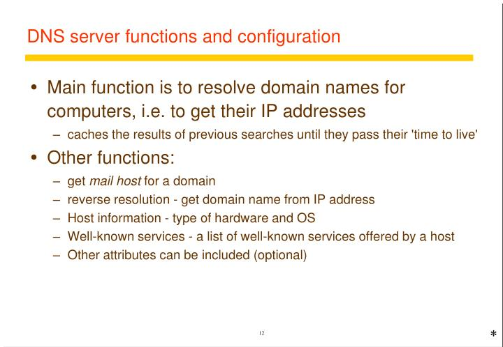 DNS server functions and configuration