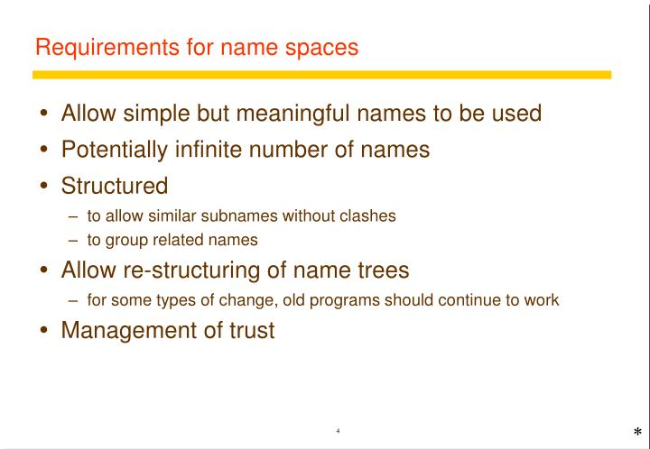 Requirements for name spaces