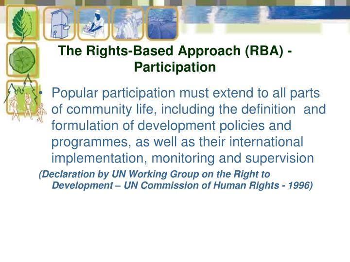 The Rights-Based Approach (RBA) - Participation