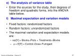 e the analysis of variance table11