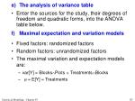 e the analysis of variance table8