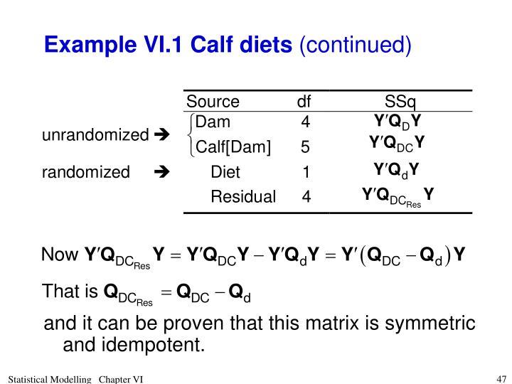 Example VI.1 Calf diets