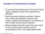 example vi 16 salt tolerance of lizards