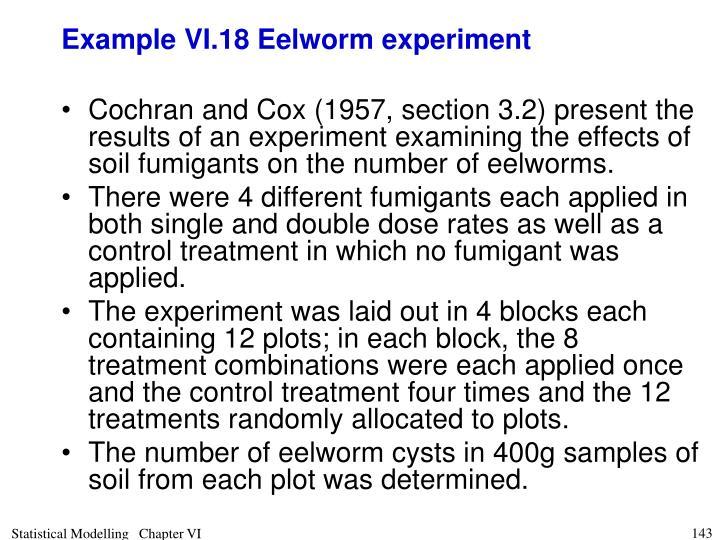 Example VI.18 Eelworm experiment