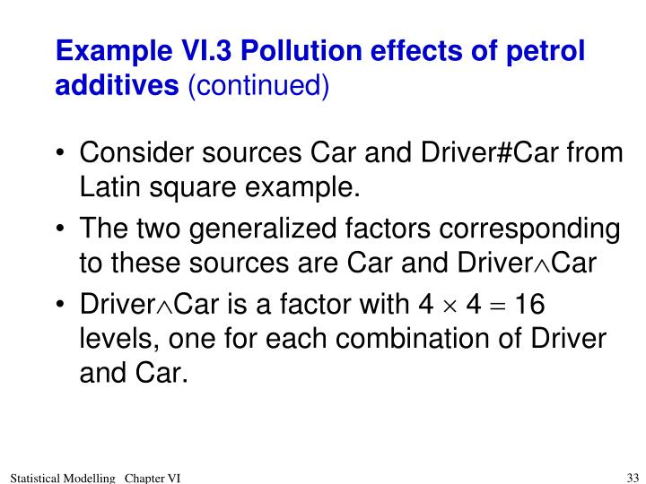 Example VI.3 Pollution effects of petrol additives