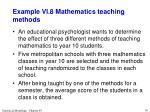 example vi 8 mathematics teaching methods