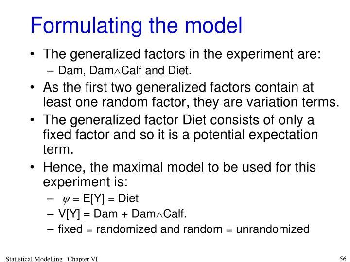 Formulating the model