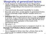 marginality of generalized factors