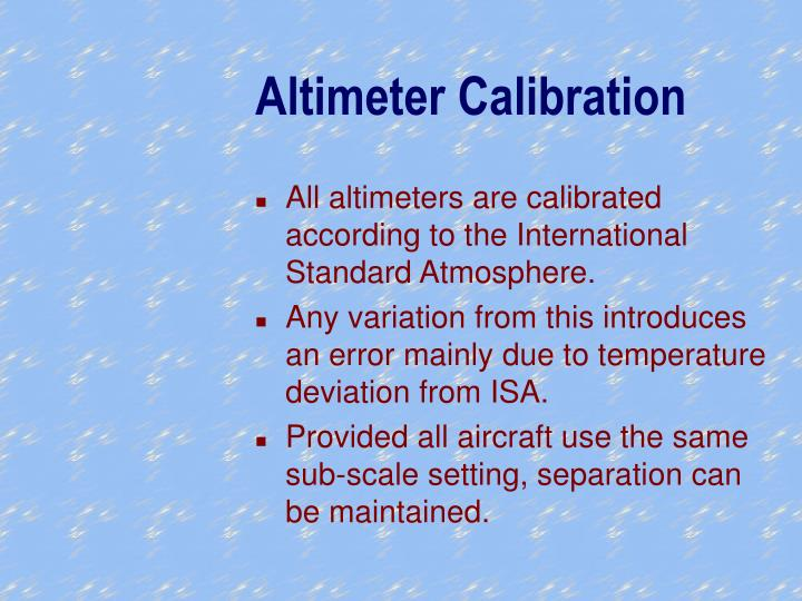 Altimeter Calibration
