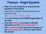 pressure height equation