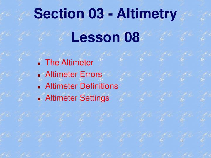 Section 03 - Altimetry