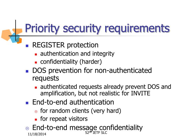 Priority security requirements