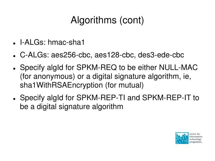 Algorithms (cont)