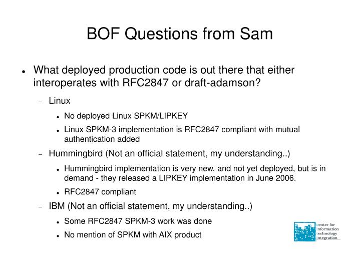 BOF Questions from Sam