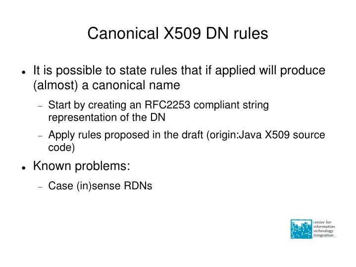 Canonical X509 DN rules