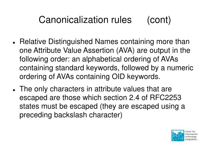 Canonicalization rules (cont)