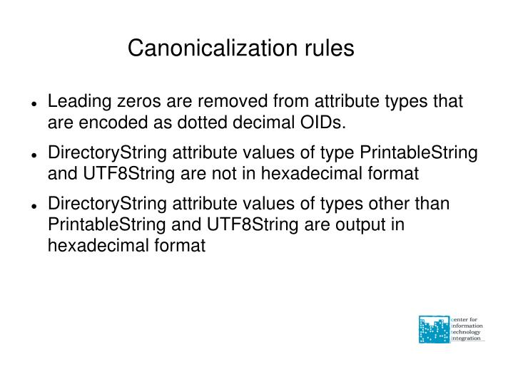 Canonicalization rules