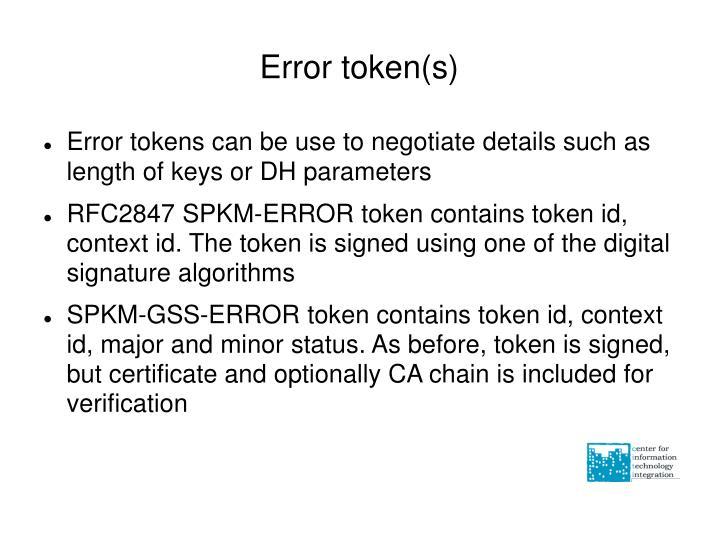 Error token(s)