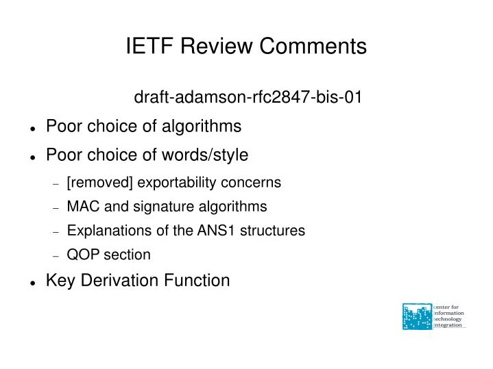 IETF Review Comments