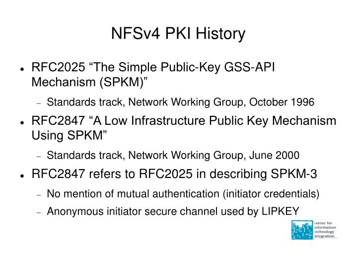 NFSv4 PKI History