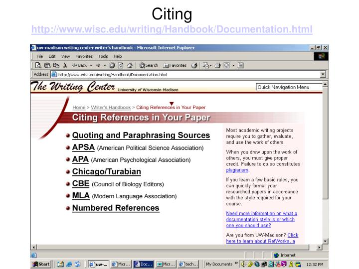Citing http www wisc edu writing handbook documentation html
