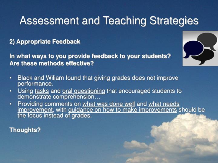 Assessment and Teaching Strategies