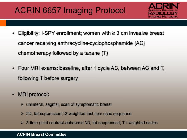 ACRIN 6657 Imaging Protocol