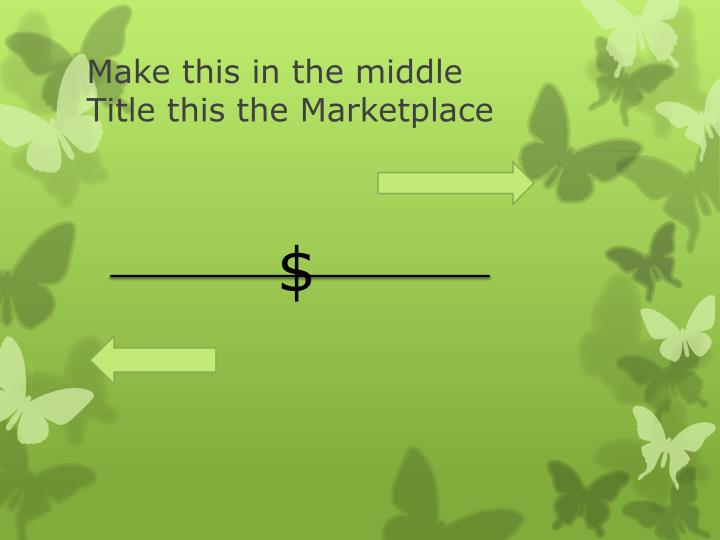 Make this in the middle title this the marketplace