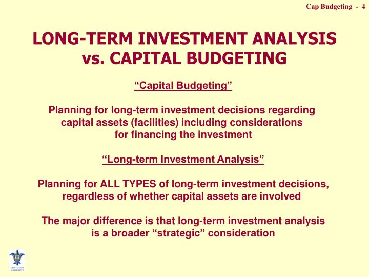 LONG-TERM INVESTMENT ANALYSIS