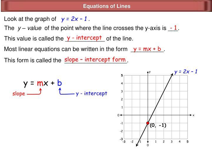 y = 2x – 1
