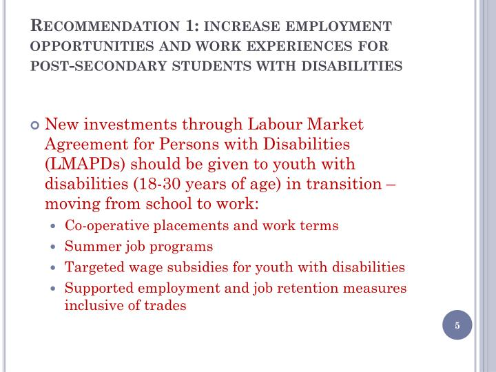 Recommendation 1: increase employment opportunities and work experiences for post-secondary students with disabilities