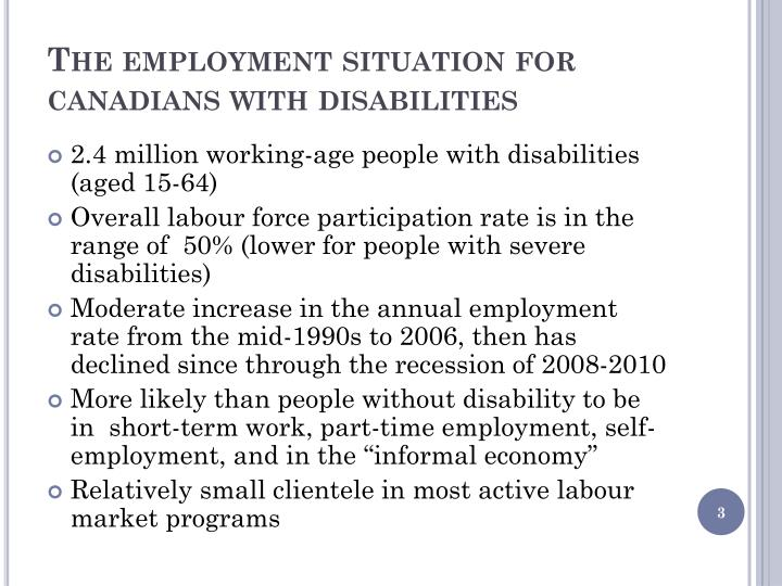 The employment situation for canadians with disabilities
