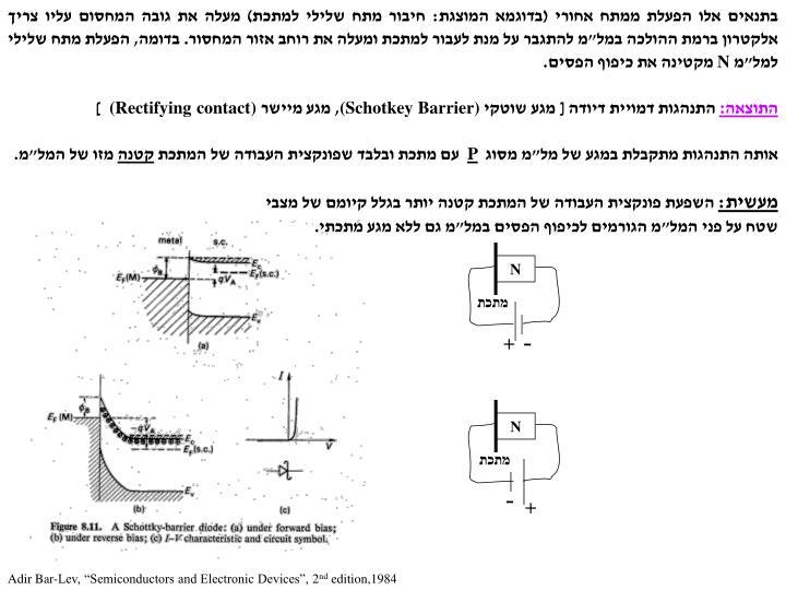 """בתנאים אלו הפעלת ממתח אחורי (בדוגמא המוצגת: חיבור מתח שלילי למתכת) מעלה את גובה המחסום עליו צריך אלקטרון ברמת ההולכה במל""""מ להתגבר על מנת לעבור למתכת ומעלה את רוחב אזור המחסור"""