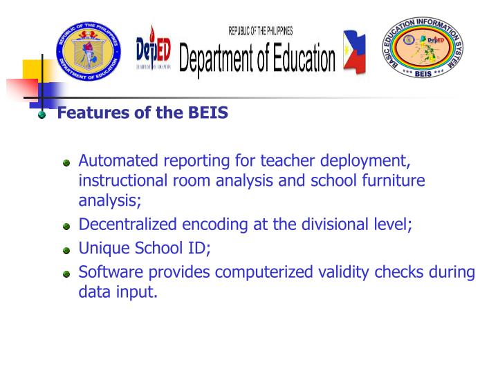 Features of the BEIS